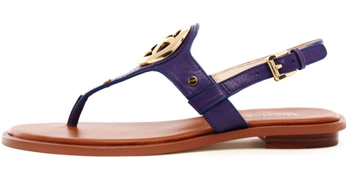 ab653f5a82114 Lyst - MICHAEL Michael Kors Aubrey Logo Thong Sandal in Blue