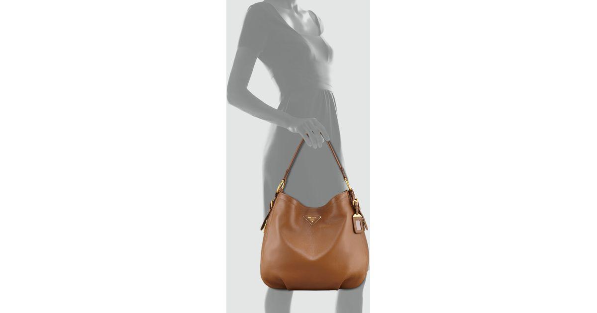 327533ef8b360d Prada Cervo Hobo Bag in Gray - Lyst
