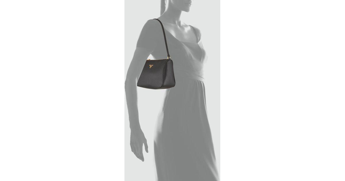 prada ostrich purse - Prada Daino Mini Shoulder Bag in Black (nero) | Lyst