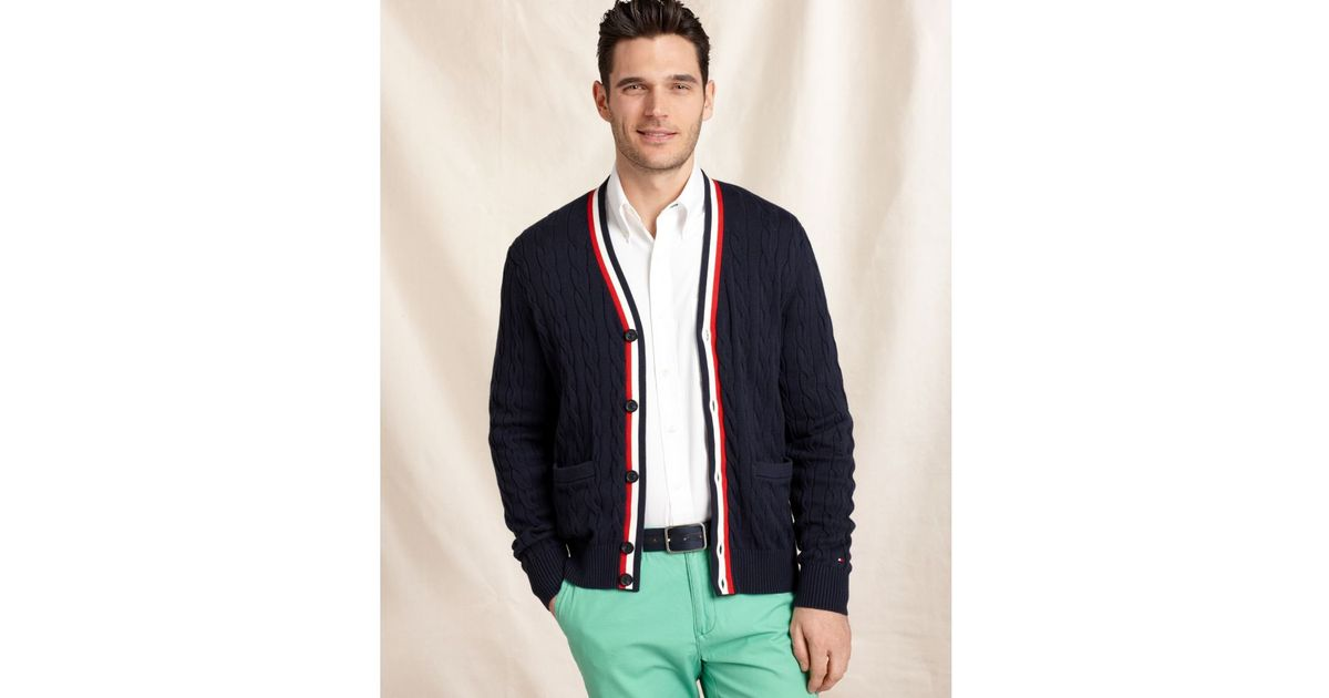 Tommy hilfiger Crosby Cable Cardigan Sweater in Black for Men | Lyst