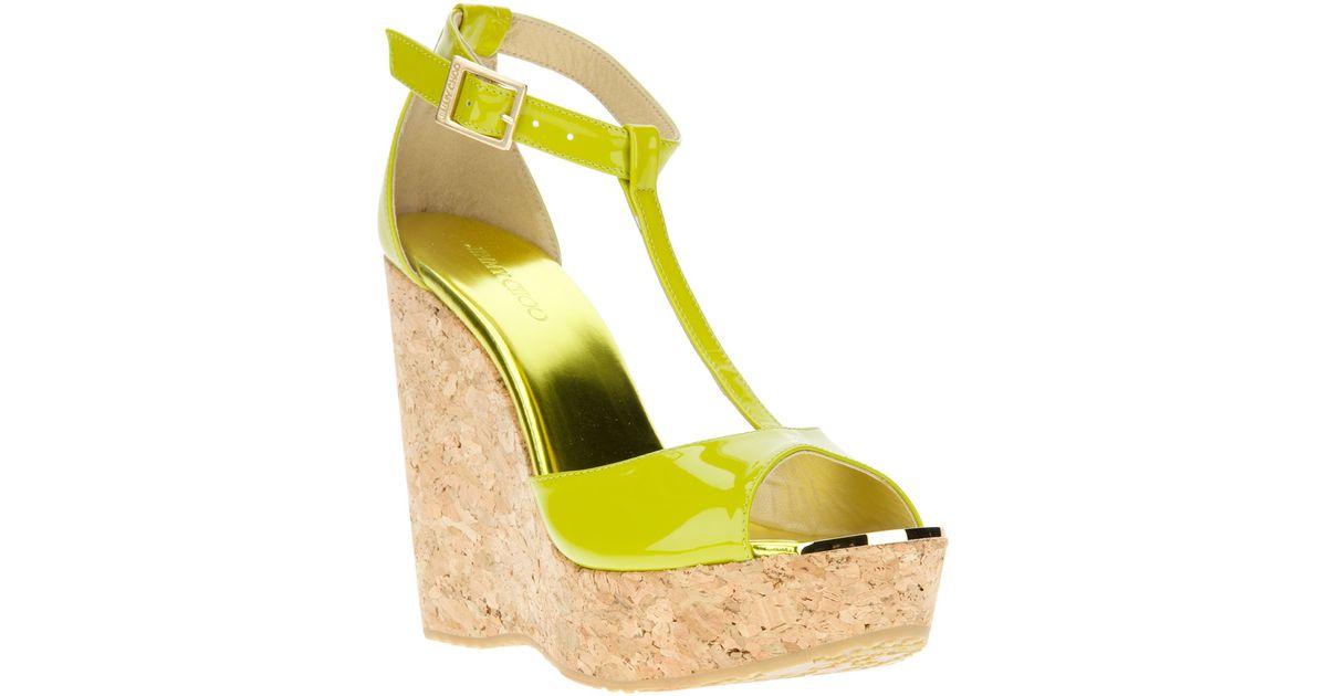 0c5e01040b1fa1 Jimmy Choo Tbar Sandal in Yellow - Lyst
