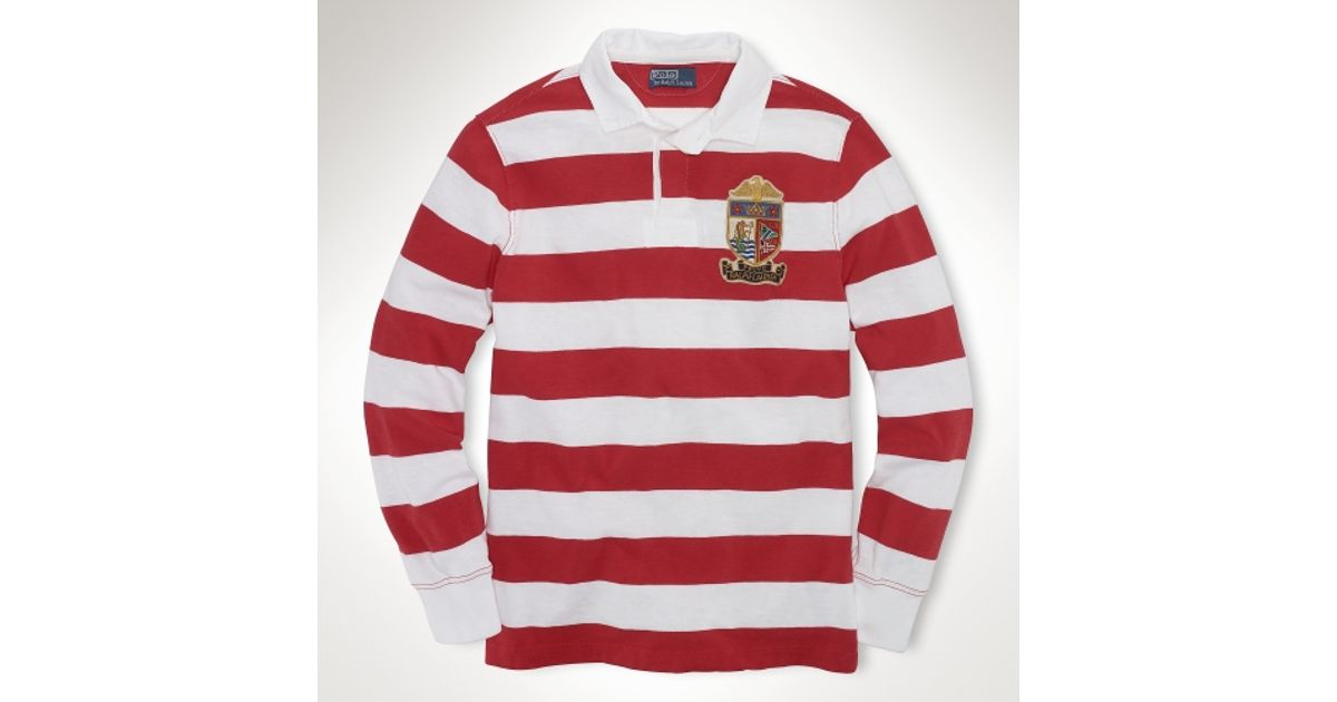 d4335603 ... reduced lyst polo ralph lauren long sleeved striped rugby in red for men  79652 6caa5