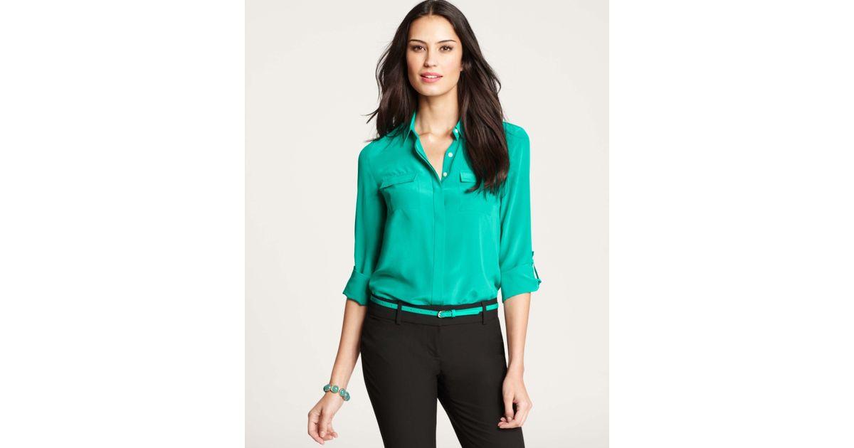 6f935c6e29dae Lyst - Ann Taylor Petite Silk Camp Shirt in Green