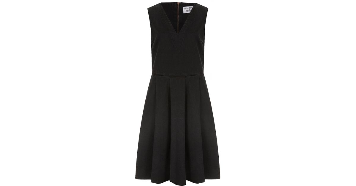 Lyst Topshop Denim Pleat Dress By Jw Anderson For Topshop In Black
