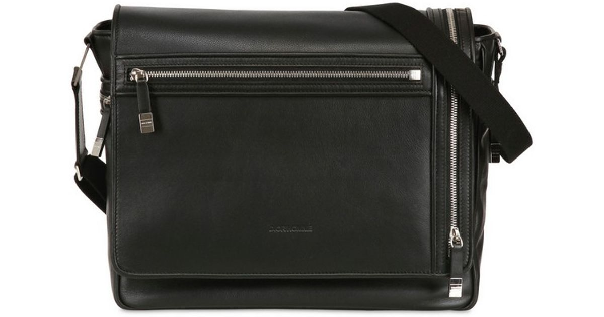 0b3a4447afb3 Lyst - Dior Homme Nappa Leather Messenger Bag in Black for Men