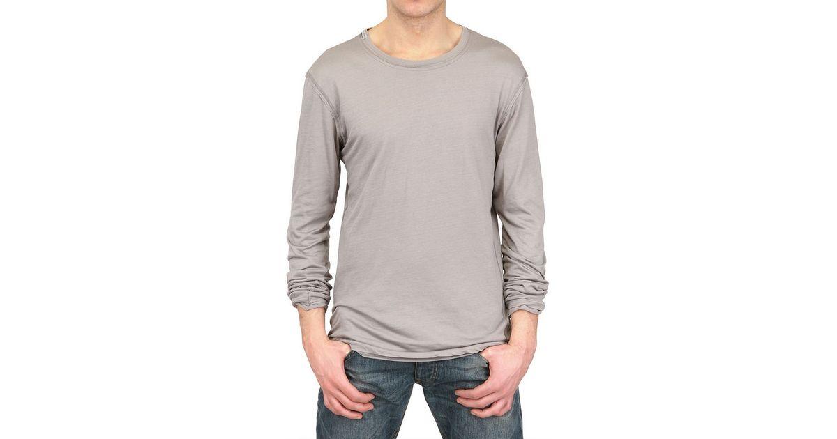 09c67311083 Lyst - Dolce   Gabbana Long Sleeved Cotton Silk Jersey T-Shirt in Gray for  Men