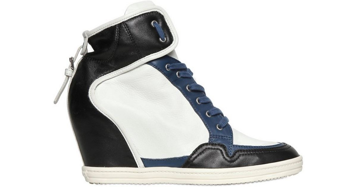 4164dfc46401 Lyst - Hogan Rebel 90mm Two Tone Calfskin Wedge Sneakers in White