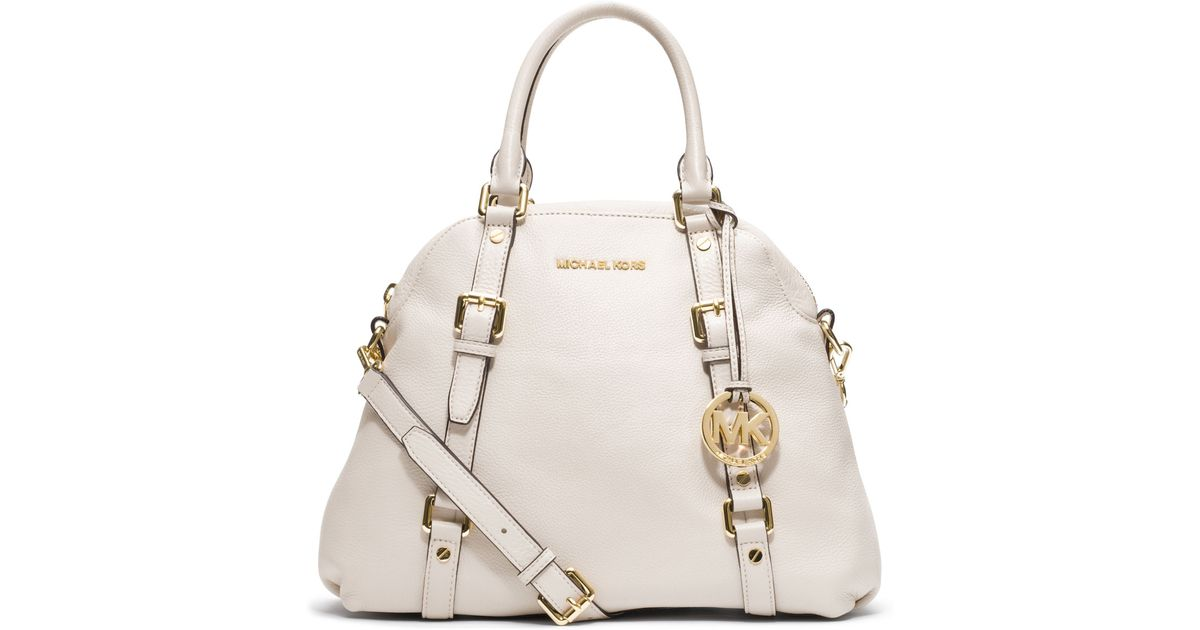 0b3481027050 cheap michael kors bedford handbag gold e9249 cb5db; 50% off lyst michael  kors large bedford bowling satchel in white 2bdb6 74115