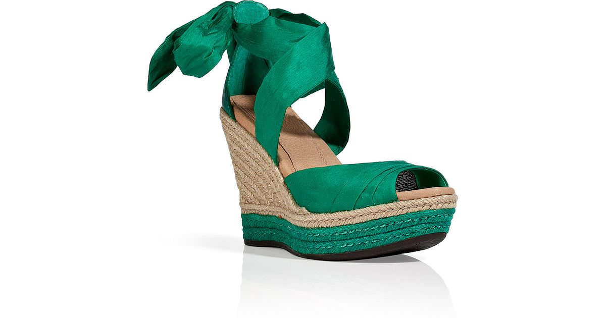 73cf09e7ee67 Lyst - Ugg Green Silk Leather Lucianna Wedges in Green