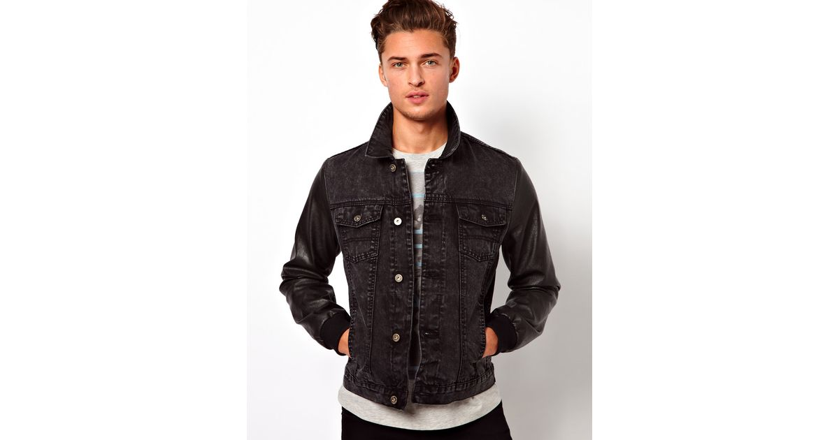 c6012753e12 Lyst - Fred Perry Asos Denim Jacket with Faux Leather Sleeves in Black for  Men
