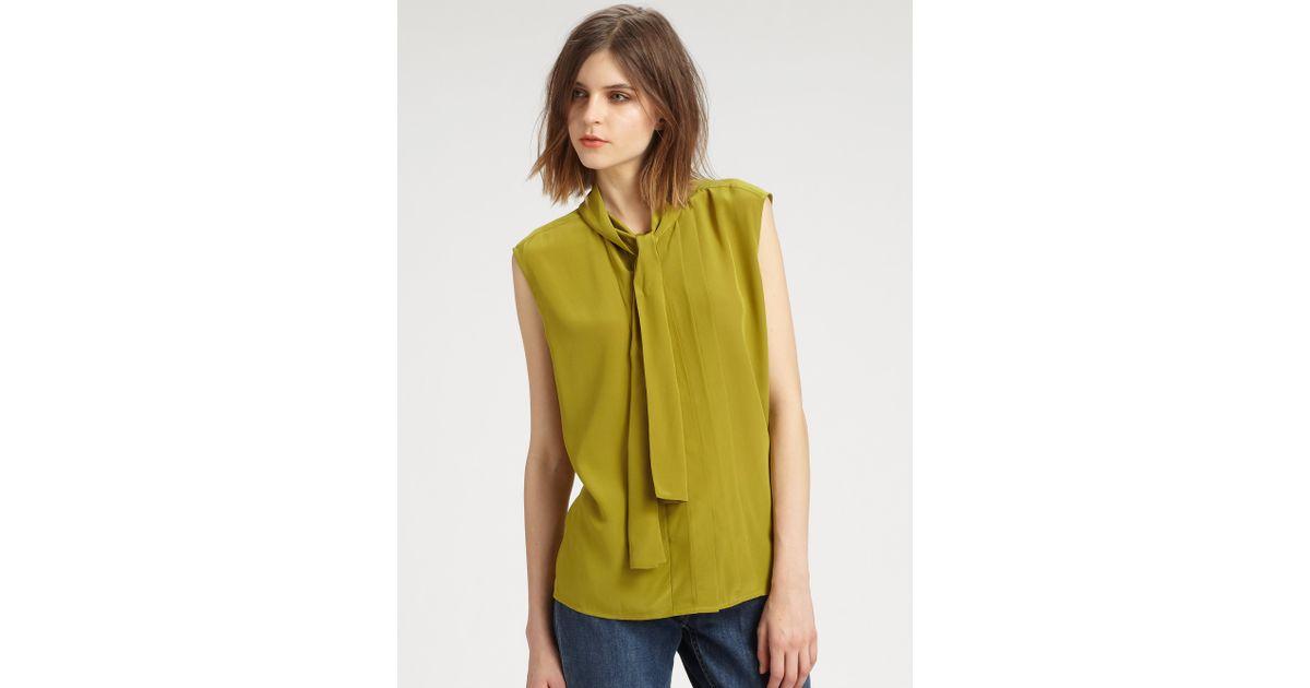 feae2370a8a0f Lyst - BLK DNM Silk Sleeveless Blouse in Green