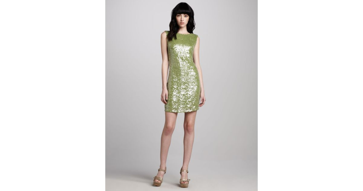 Alice   olivia Ally Sequined Vback Dress in Green | Lyst