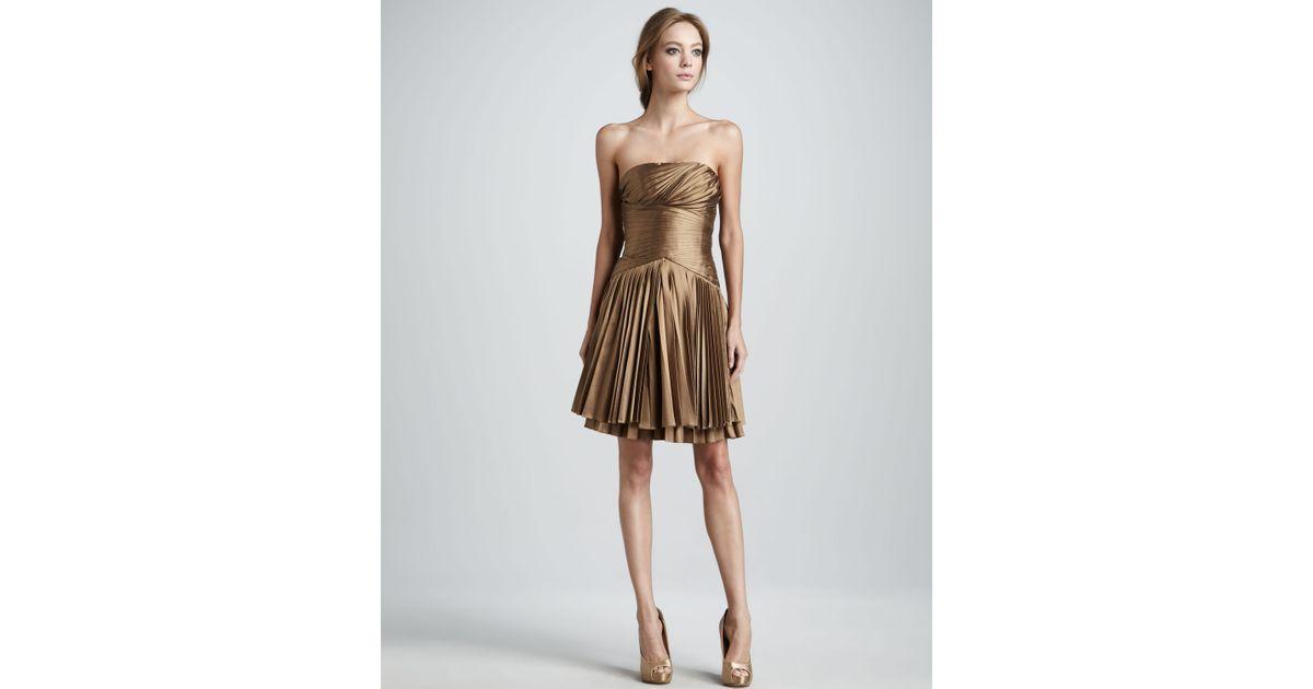 b85975d5de Lyst - Halston Pleated Strapless Dress in Metallic