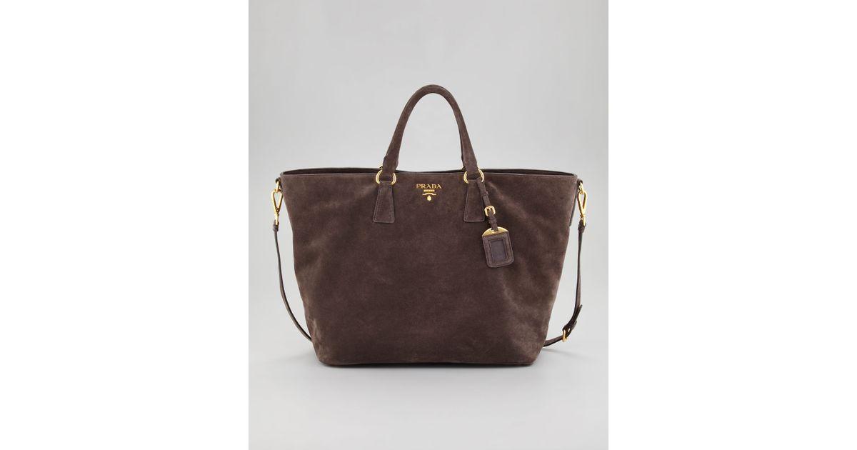 Prada Suede Tote Bag in Brown (grafite) | Lyst