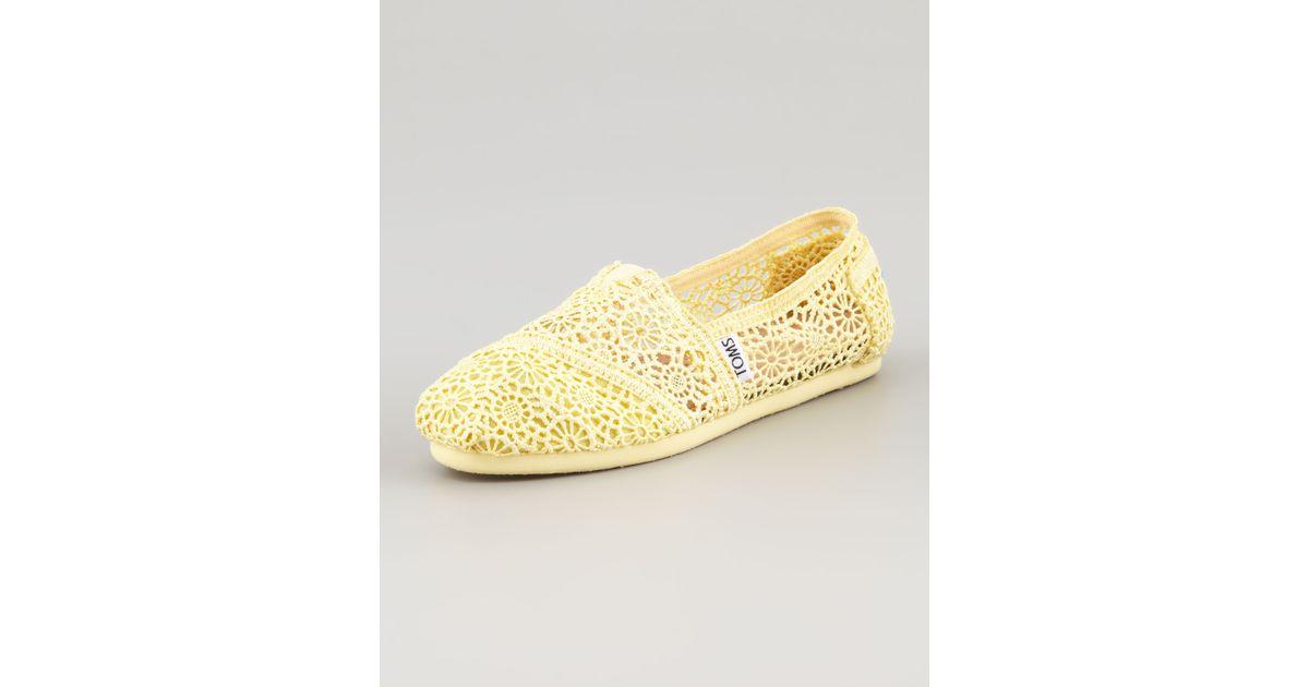 3f6d627ab4b Lyst - TOMS Crochet Slip-On in Yellow