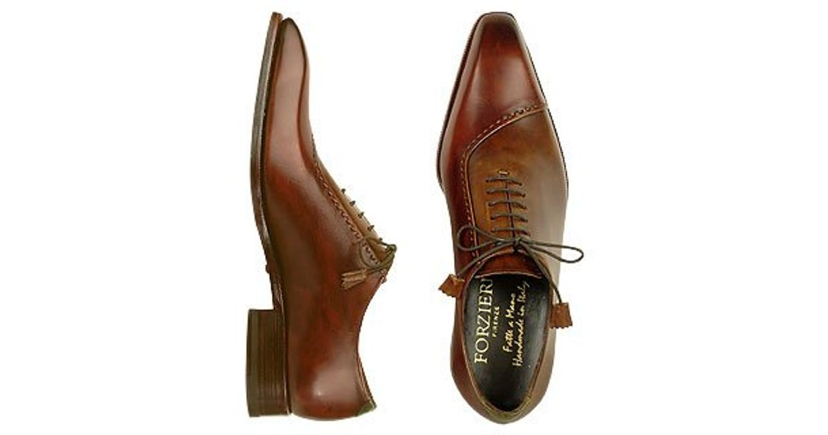 forzieri leather lace up oxford shoes in brown for lyst