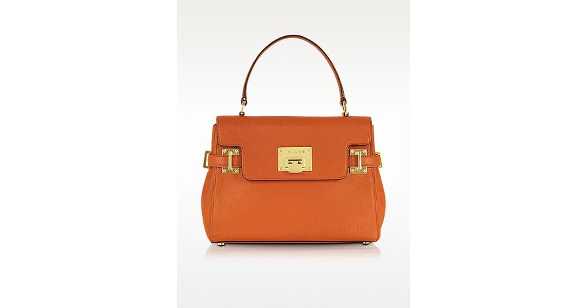 Lyst - Michael Kors Astrid Tangerine Leather Medium Satchel in Orange 2357df70b