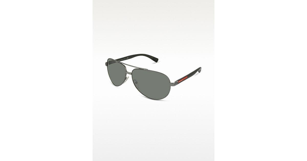 4ac85c3563c7 ... purchase lyst prada metal aviator sunglasses in metallic for men ca007  9baa5