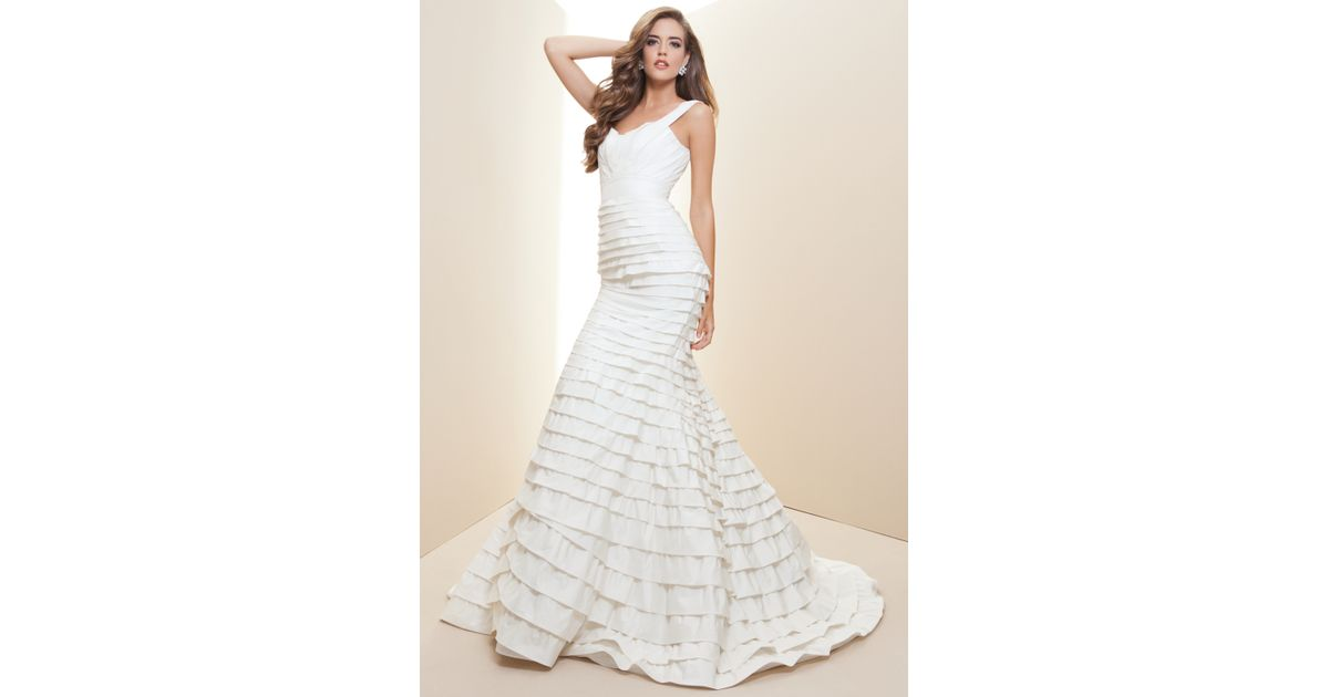 Lyst - Bebe Layered Silk Taffeta Bridal Gown Rami Kashou in White