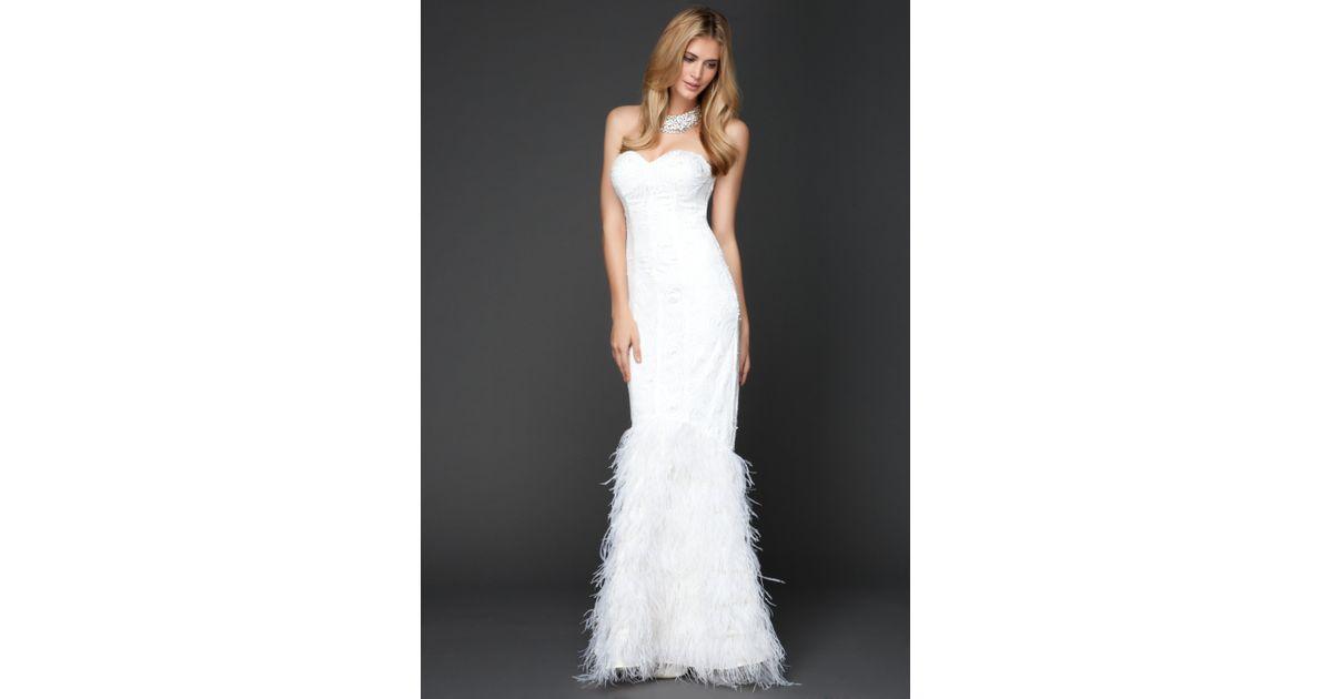 Bebe - White Elegant Sequin Feather Bridal Dress - Lyst