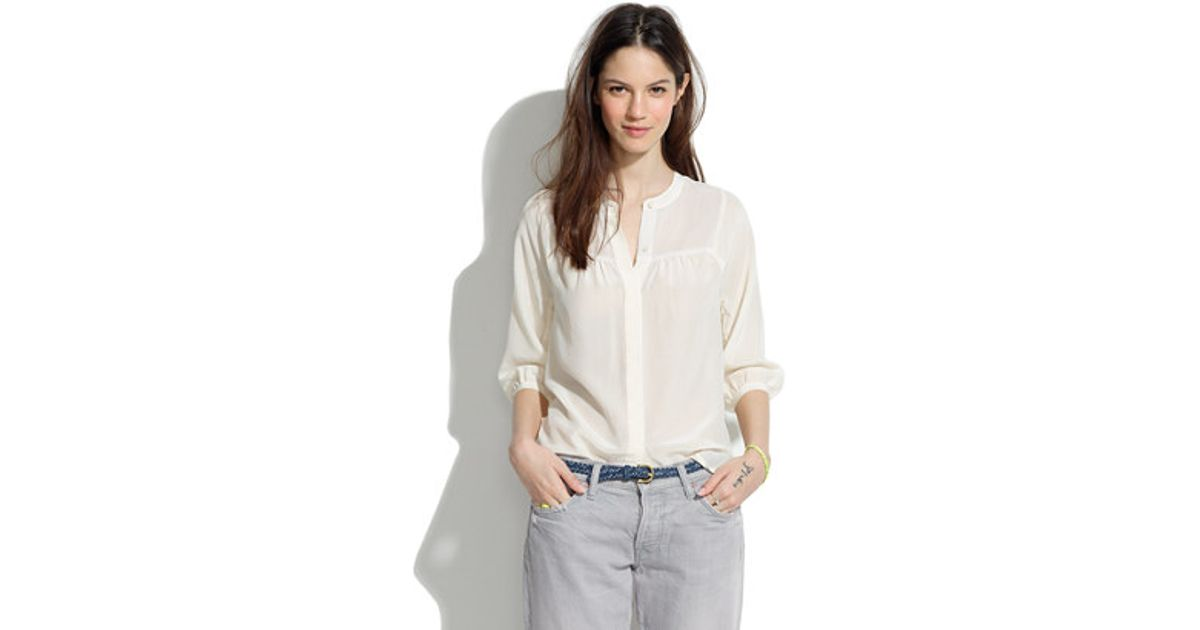 688c95fae04cd0 Lyst - Madewell Collarless Silk Blouse in White