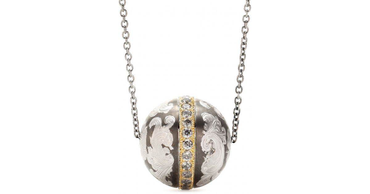 Lyst roberto marroni niello engraved silver ball pendant necklace lyst roberto marroni niello engraved silver ball pendant necklace with grey diamonds and 18kt gold in gray aloadofball Images