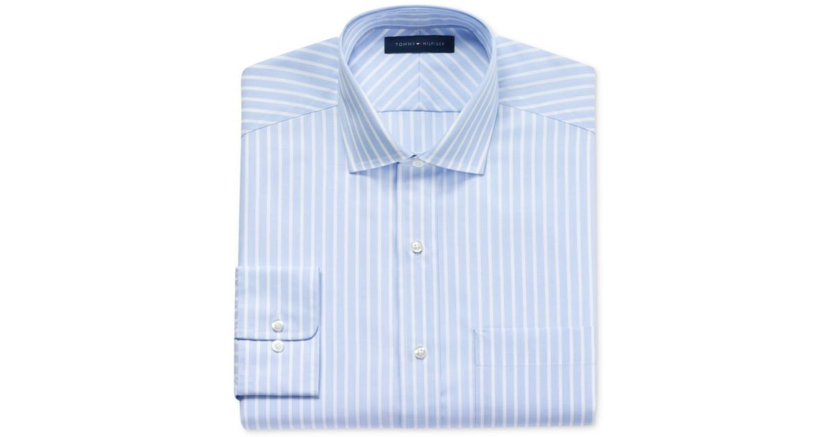 Tommy Hilfiger No Iron Sky Blue And White Stripe Long