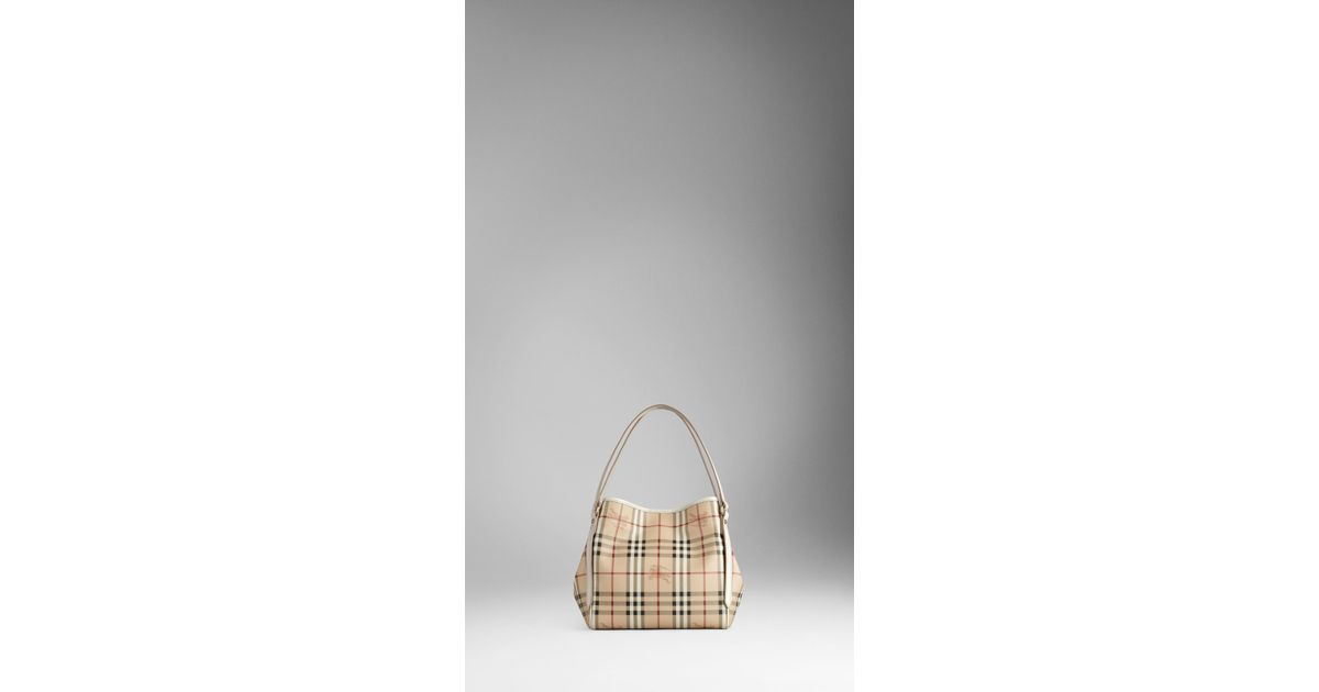 9b8bf9478231 Lyst - Burberry Small Haymarket Check Tote Bag in Natural