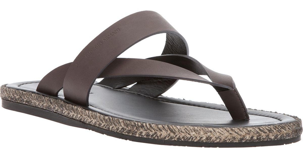 b45204f322d6 Lyst giorgio armani layered thong sandal in brown for men jpeg 1200x630 Armani  mens sandals