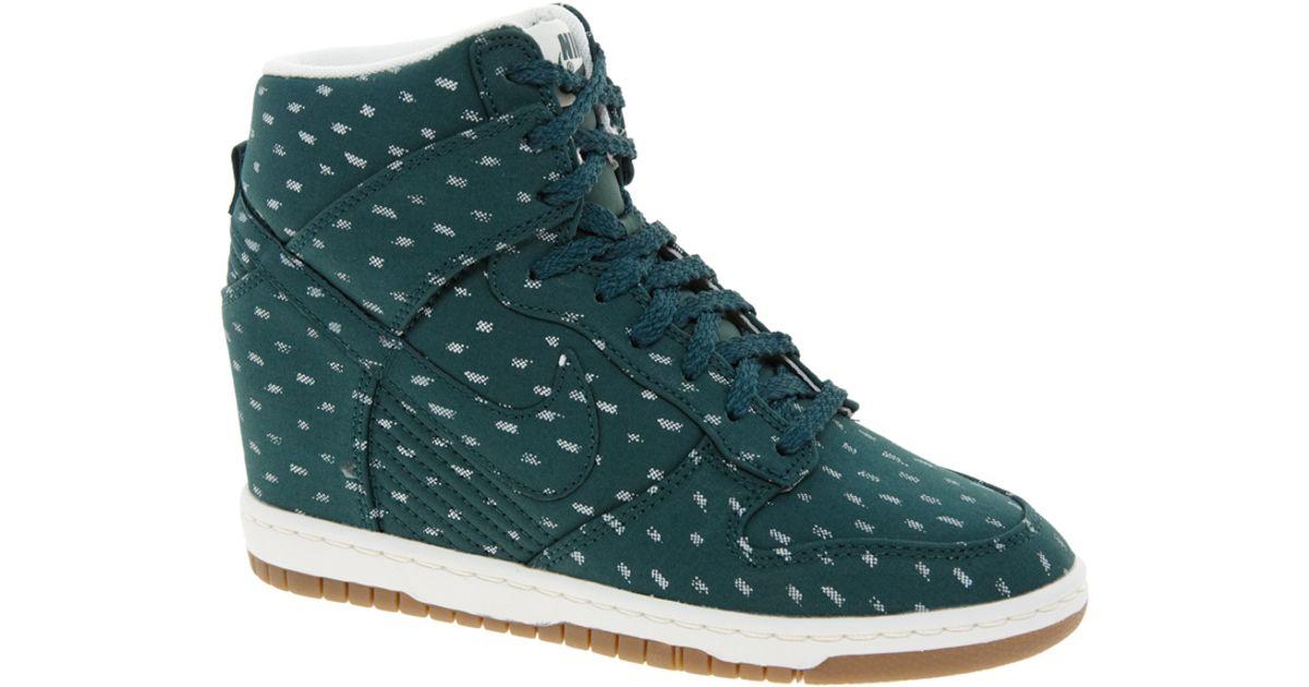 1e588aaf61b Lyst - Nike Dunk Sky High Top Green Wedge Sneakers in Blue