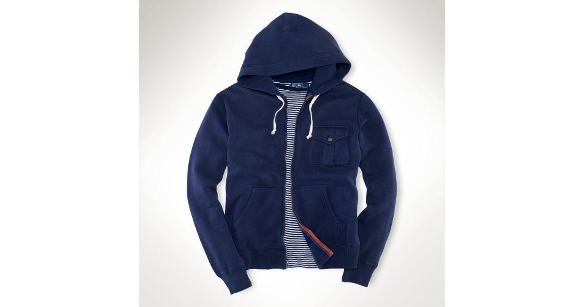 ... Polo Ralph Lauren Weathered Fleece Blue Hoodie ...