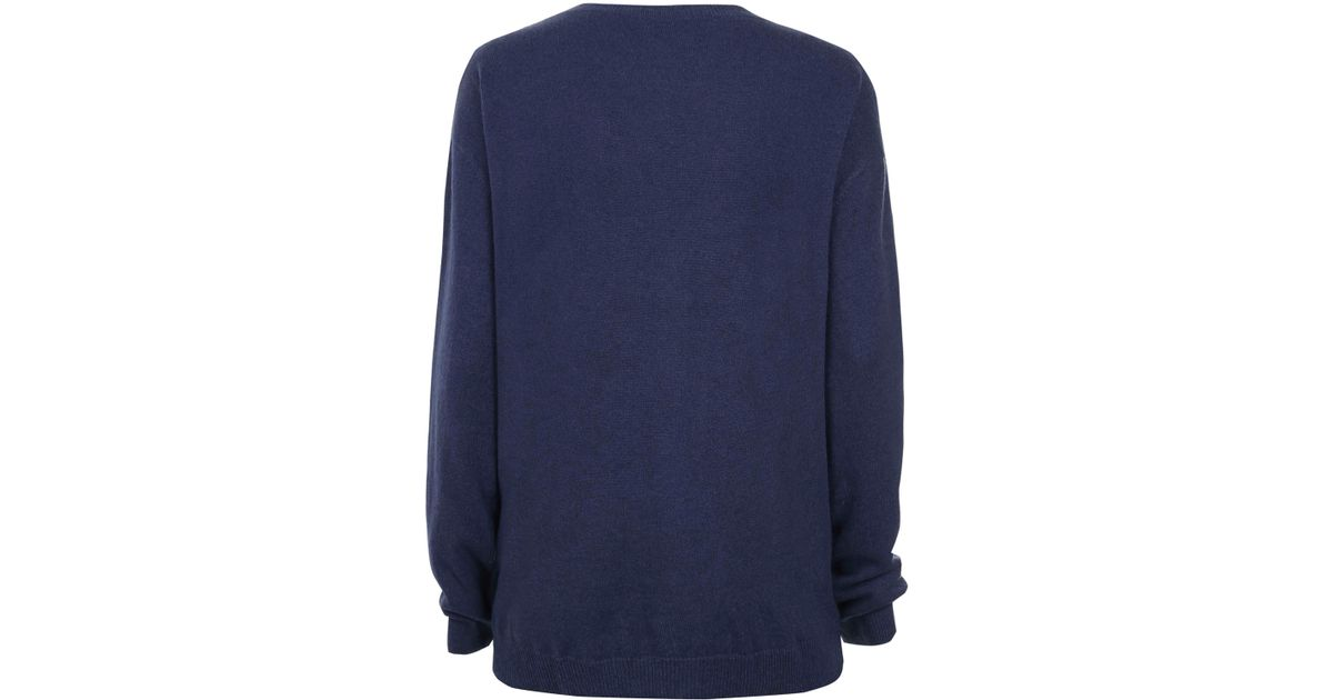 Cash ca Navy Cashmere Vneck Boyfriend Cardigan in Blue | Lyst
