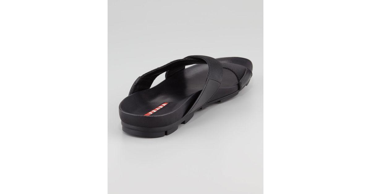 10489d8f7a0f52 Lyst - Prada Nylon Crisscross Slipon Sandal in Black for Men