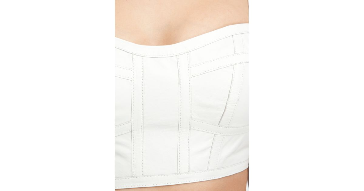 ada3252ef Bebe Cropped Leather Bustier in White - Lyst