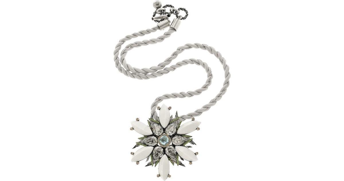 ad80a74ddc Lyst - Lanvin Snowflake Swarovski Crystal Necklace in White