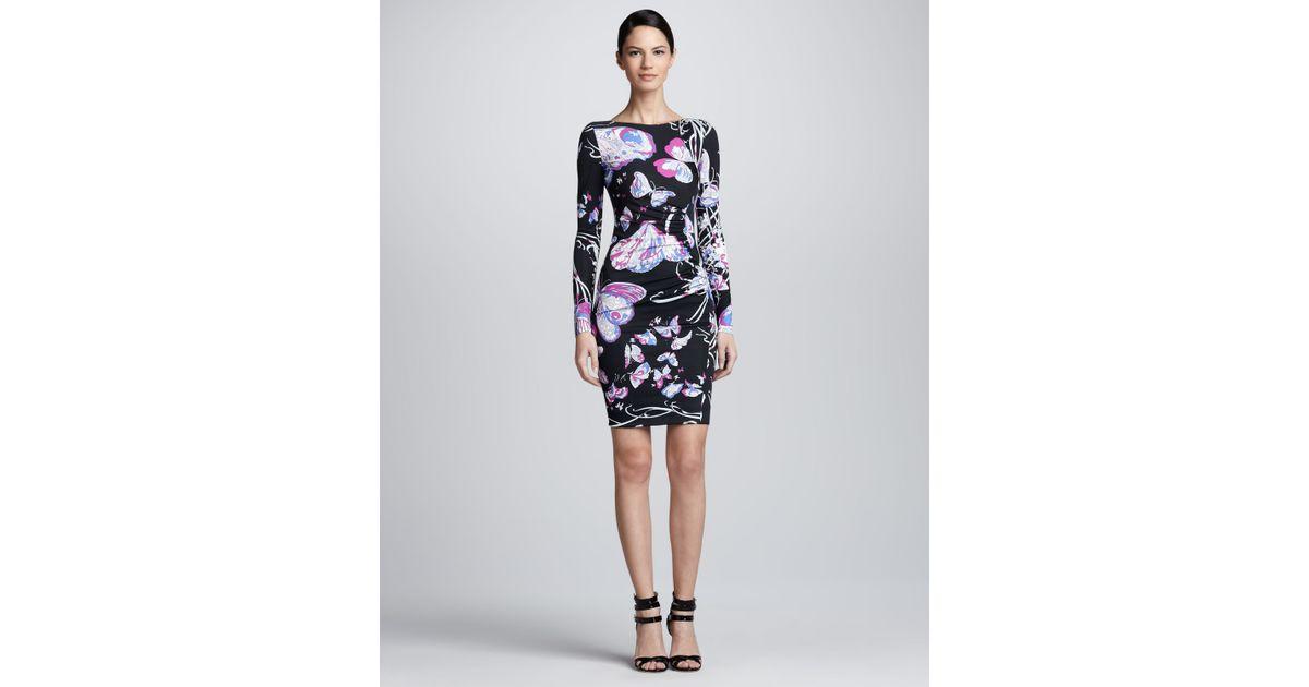 59337e6b35b3e Emilio Pucci Asymmetric Butterfly Print Dress - Lyst
