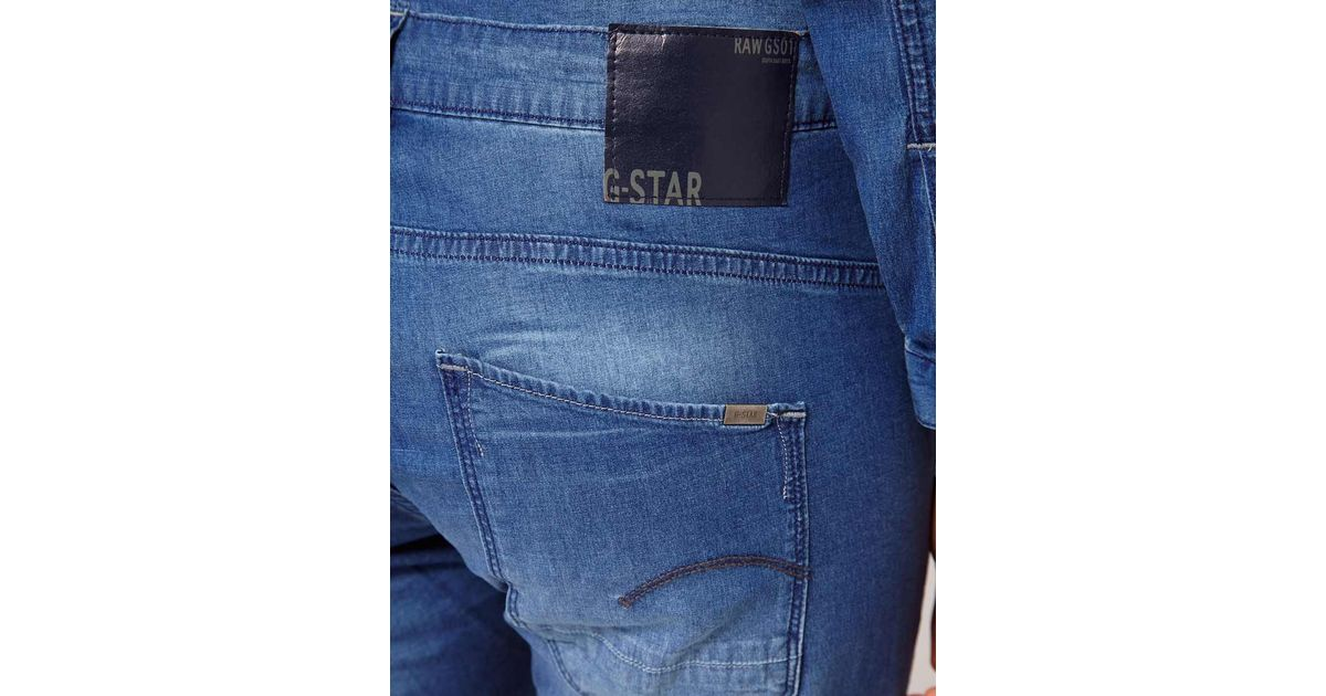 g star raw gstar denim jumpsuit in blue lyst. Black Bedroom Furniture Sets. Home Design Ideas