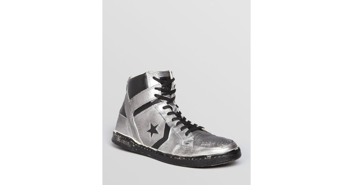595f2a85424e ... france lyst john varvatos converse by weapon metallic leather high top  sneakers in metallic for men
