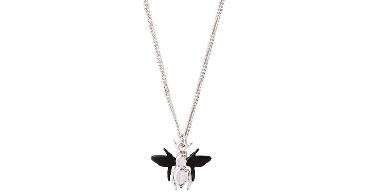 27bb0a60146c56 Dior Homme Silver Bee Pendant Necklace In Metallic For Men Lyst