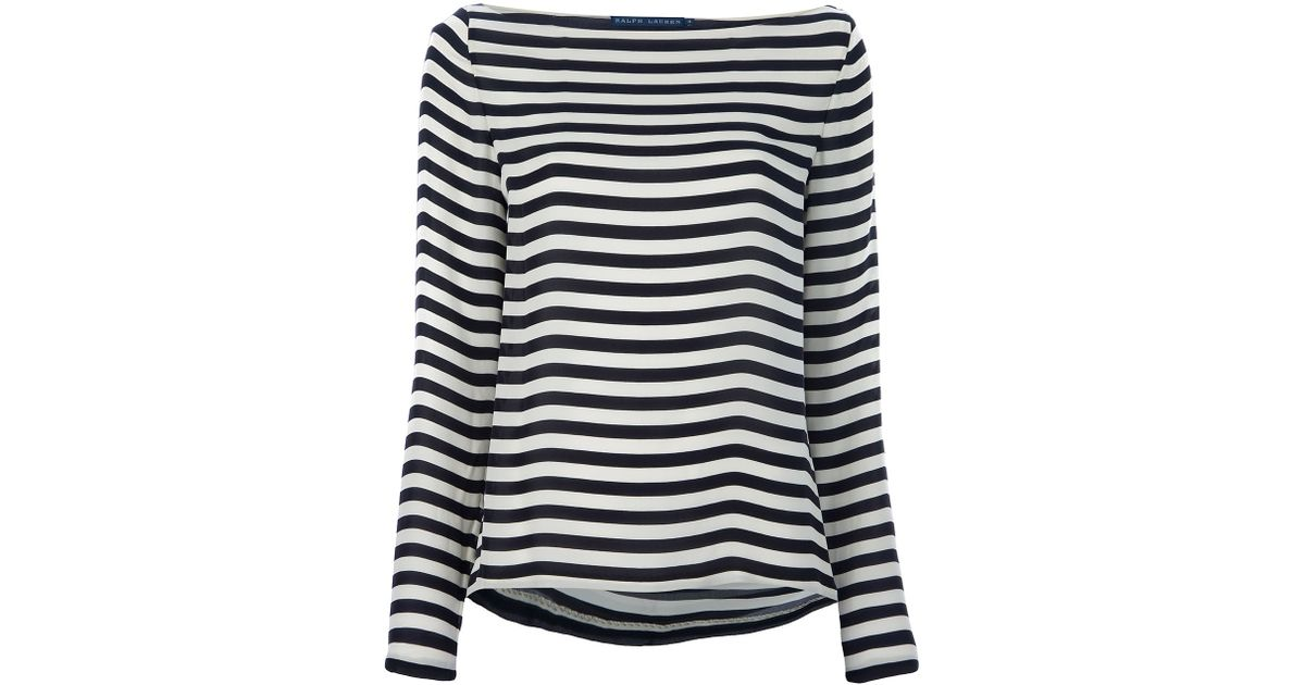 a22104890e Ralph Lauren Blue Label Striped Boat Neck Top in White - Lyst