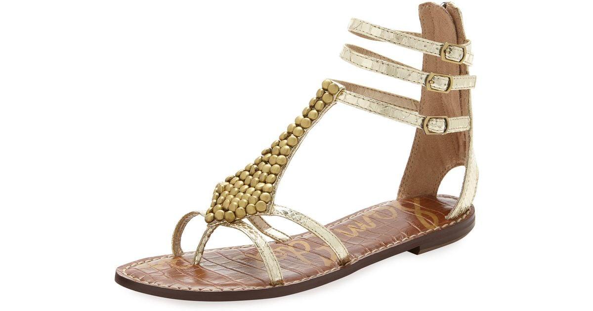 a4b7049797940 Lyst - Sam Edelman Ginger Gladiator Sandal in Metallic