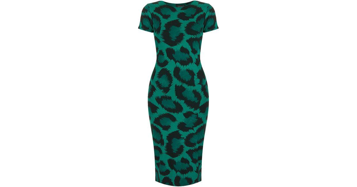 13ae746ec1d3 TOPSHOP Leopard Cut-Out Back Midi Dress in Green - Lyst