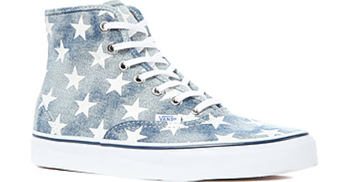 Vans The Authentic Hi Sneaker in Blue Washed Denim and Stars Lyst