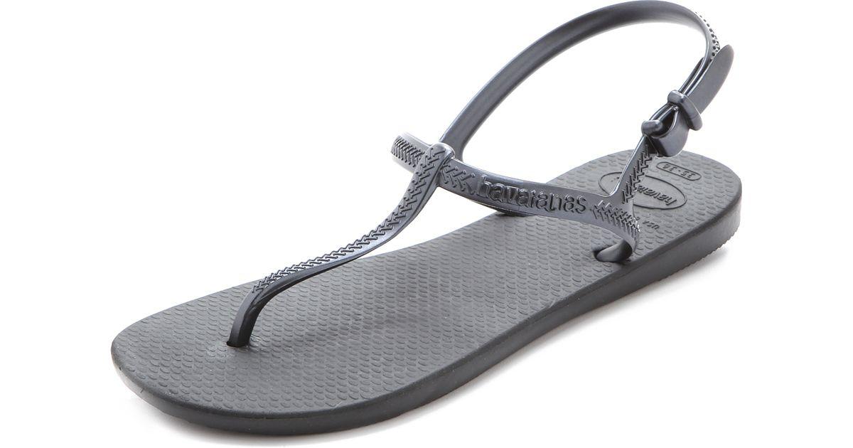 b937196966c697 Lyst - Havaianas Freedom T Strap Sandals in Black