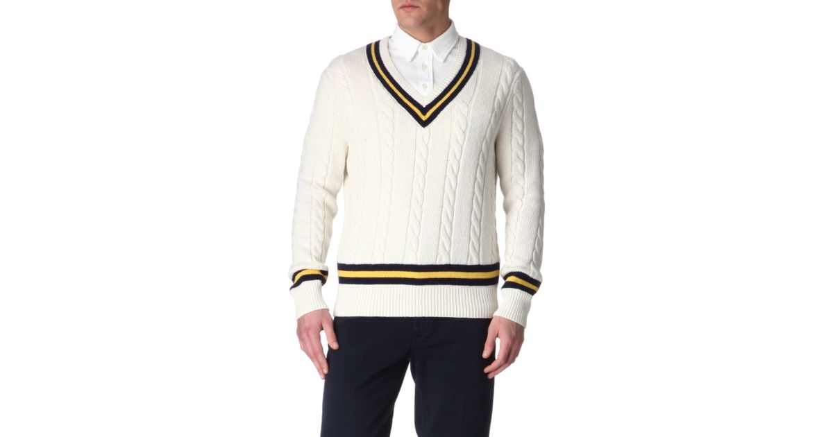 a9e9f87eb6a Ralph Lauren Cricket Cableknit Jumper in White for Men - Lyst
