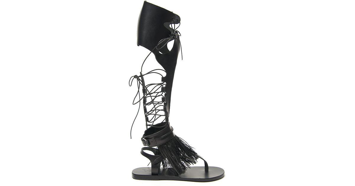 Sandals Ancient Gladiator Greek High Lyst Black Sandal 2DH9IE