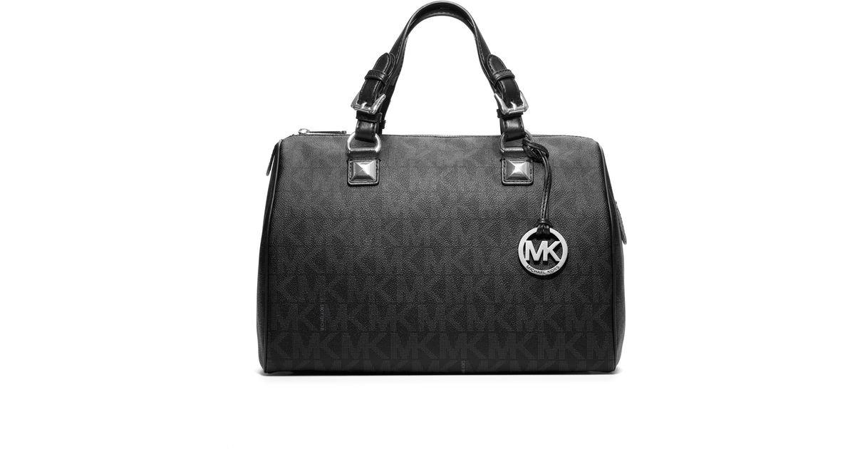 ef67e26e80f5d9 ... cheapest lyst michael kors large grayson logo pvc satchel in black  b82ae 87901 ...