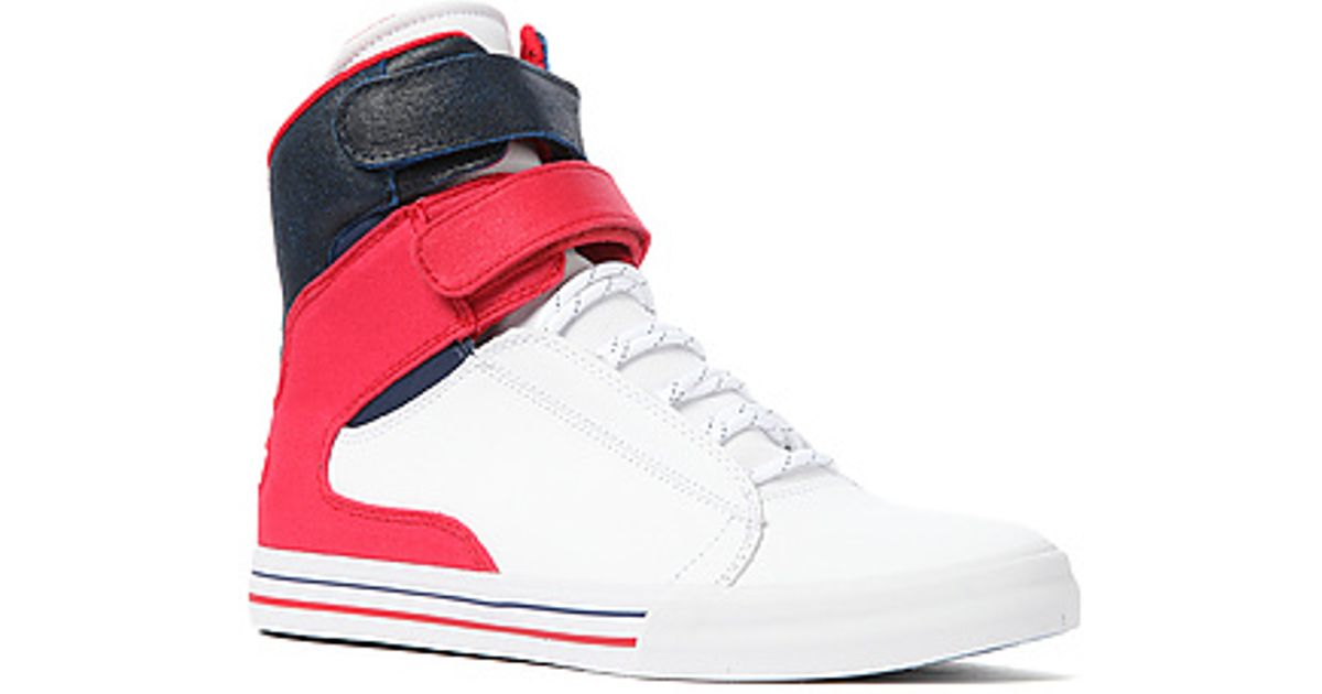 Lyst - Supra The Society Sneaker in White Raptor Tuf Red Suede Navy Blue  Waxed Suede in White for Men 623b12fdc46