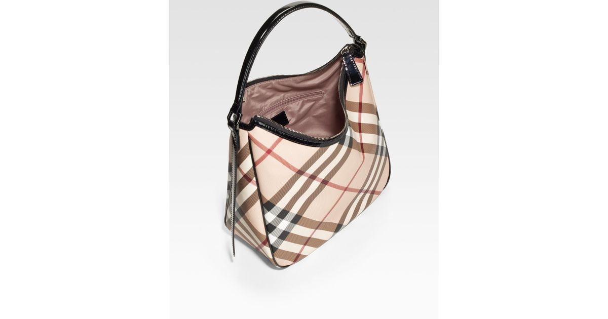 75c27c163e0 Lyst - Burberry Check print Canvas Hobo Bag in Natural