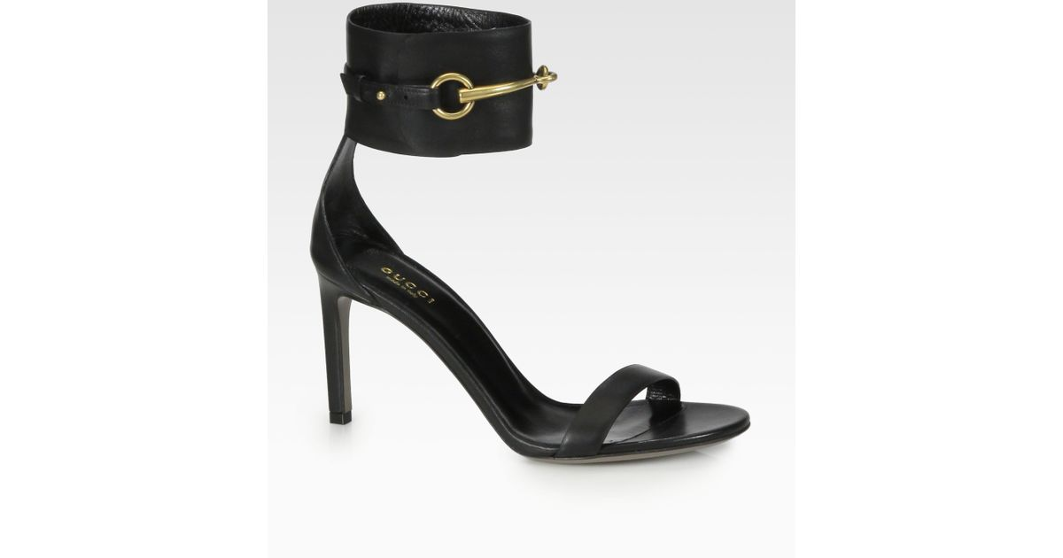 a5423cb5addb3d Lyst - Gucci Ursula Leather Horsebit Sandals in Black